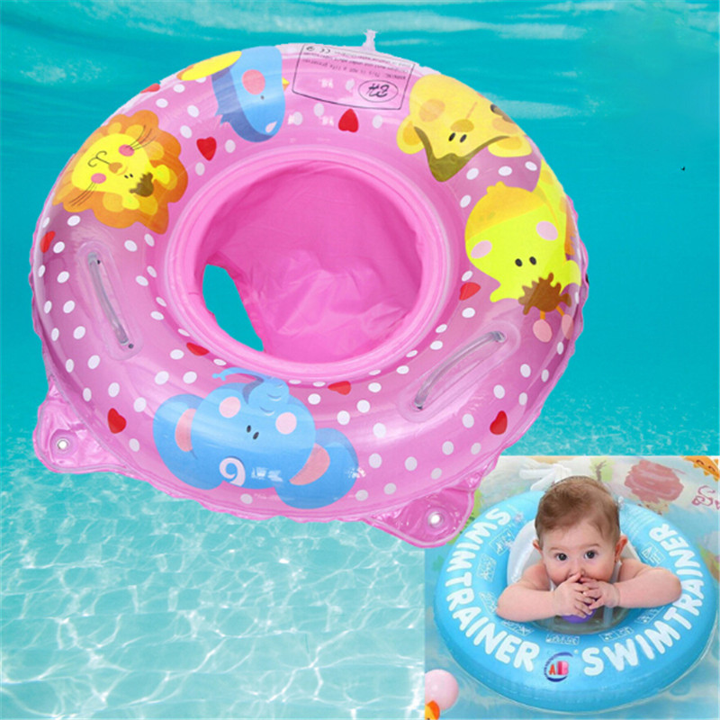 Hot Inflatable Infant Kids Swimming Pool Rings Double Handle Safety Baby Seat Float Swim Ring Water Toys Swim Circle For Kids
