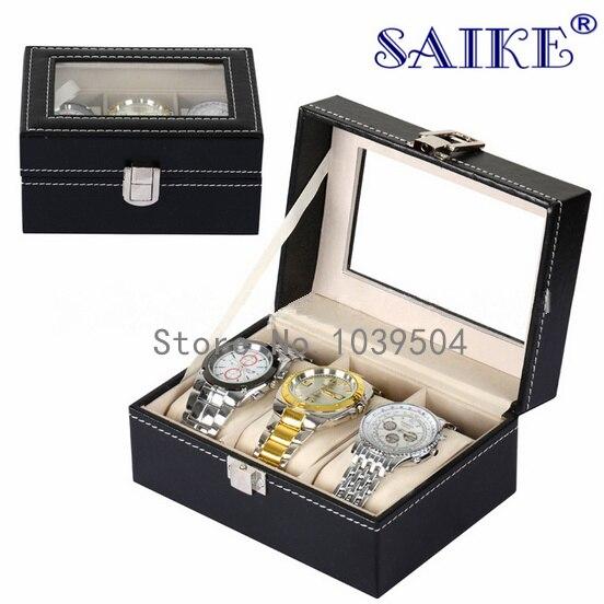 Slots de Couro Caixas de Relógio Case com Janela Relógio Organizador Novo Preto Jóias Exibição Presente Case Titular 3