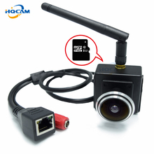 Hqcam camhi 720 p 미니 와이파이 ip 카메라 무선 웹캠, 1.78mm 와이드 앵글 어안 렌즈 지원 sd 카드 홈 감시 실내
