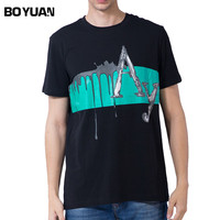 BOYUAN O Neck Cotton Men T Shirt New Summer Fashion Front Printed Short Sleeve Fitness T