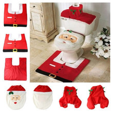 2016 Hot 1 Set/3pc Fancy Happy Santa Toilet Seat Cover  Rug Bathroom Set Decoration Rug Christmas Decoration Free Shipping