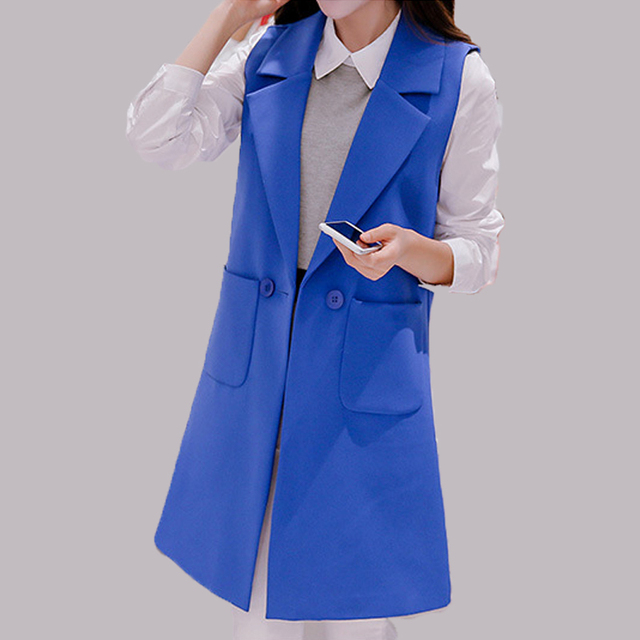 2017 Spring Summer Fashion Sleeveless Jackets Vest Women Office Lady Elegant Long Pockets Outerwear Vest Female colete feminino