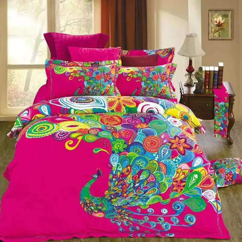 chinese style colorful peacock hot pink bedding set 100 cotton duvet cover set pillow case bed sheets for full queen size beds