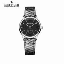Reef Tiger/RT Casual Couple Watches Simple Style Quartz Watches for Women Ultra Thin Stainless Steel Black Dial Watch RGA820