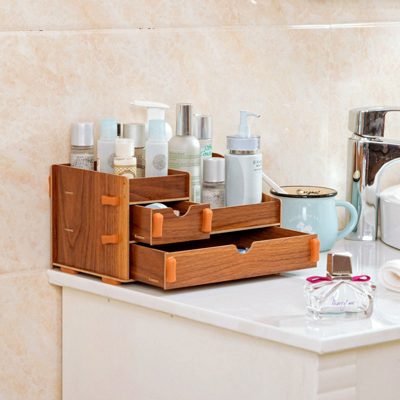 Wooden desk drawer storage box cosmetic dresser dressing Dogger debris sorting box