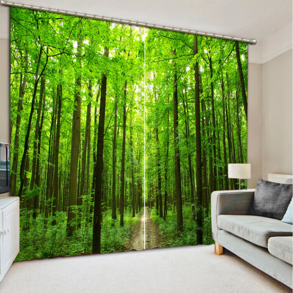 Fashion Customized 3D Curtain Green Woods Road Photo Blackout Window Drapes Luxury 3D Curtains For Living Room Bed Room Office