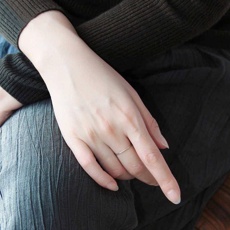 ของแข็ง 925 เงินสเตอร์ลิงง่าย Knuckle MIDI แหวนนิ้วกลางสำหรับผู้หญิง A3692