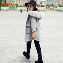 chifave New Winter Girls Parka Fur Collar Hooded Baby Girls Jacket Warm Kids Clothes Zipper Fashion Corduroy Coat Winter Outwear