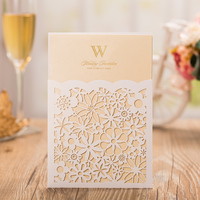 White Laser Cutting Wedding Invitation Card with Beige Inner sheet, Free Personalized Customized Wedding invitations Cards