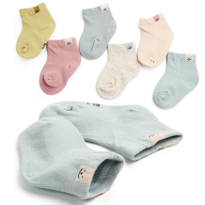 AiKway 1 Pair Baby Socks Cotton Solid Color Boy Girl Children Socks Cute Newborn Cartoon Socks Unisex