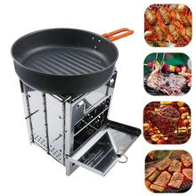 Wood Stove  Portable BBQ Picnic Stainless Steel Grills Small Folding Grill Charcoal