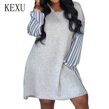 KEXU Gray Retro Hollow Out Patchwork Dress Elegant Striped Long Sleeve O-neck Pocket Women Autumn Casual Loose Overalls