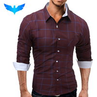 QINGYU Brand 2017 Fashion Male Shirt Long Sleeves Tops Fashion Youth Hit Color Lattice Mens Dress