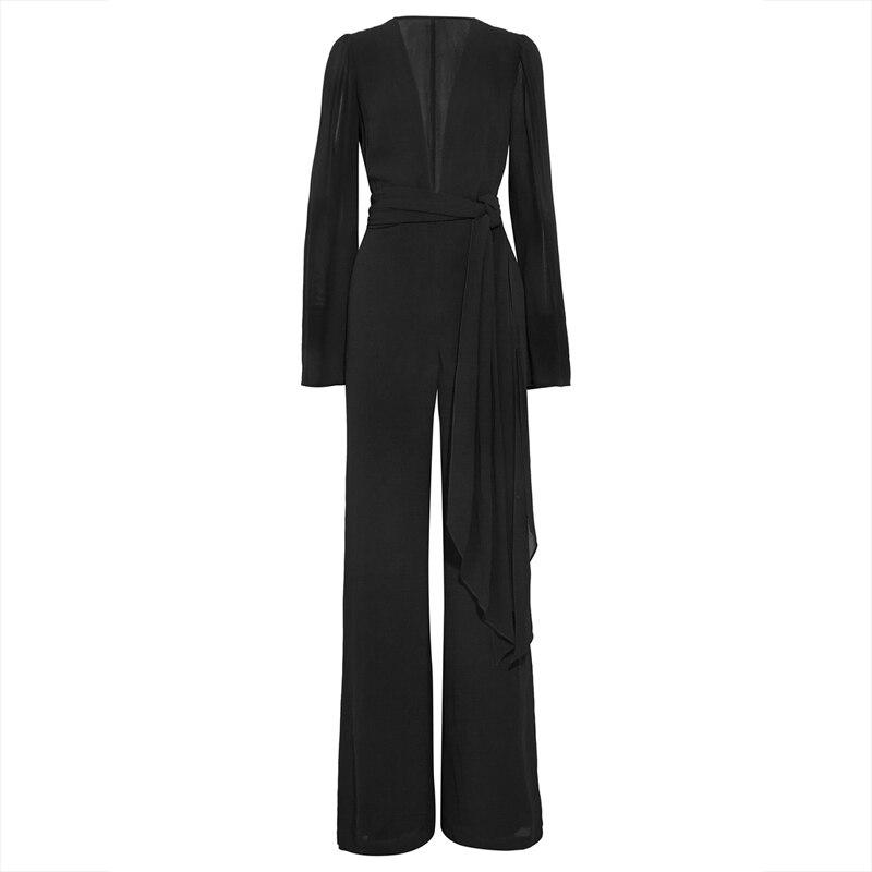 Women Sexy Black Jumpsuits Office Fashion Plain Straight Long Sleeve Romper V Neck Spring Chiffon Slim Full Length Jumpsuit