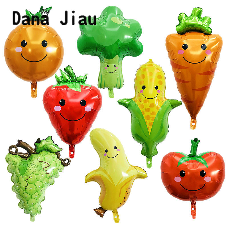 DanaJiau NEW Food Vegetables Cartoon Foil Balloon Birthday Party Decoration Ball Delicious Pizza Movie Pop Corn Lovely Kids Toy