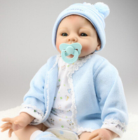 New 22inch 55cm silicone reborn baby dolls lifelike newborn baby real alive blue outfit mohair boneca reborn kids gift