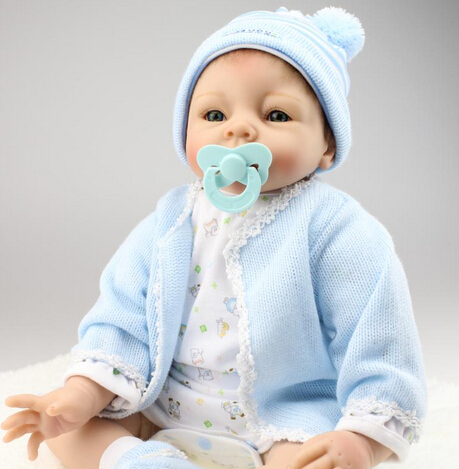 New 22inch 55cm silicone reborn baby dolls lifelike newborn baby real alive blue outfit mohair boneca reborn kids giftNew 22inch 55cm silicone reborn baby dolls lifelike newborn baby real alive blue outfit mohair boneca reborn kids gift