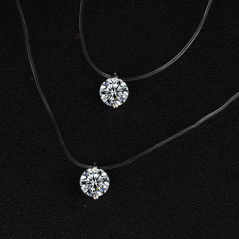 Przezroczysta żyłka wędkarska naszyjnik kobiety srebrny choker serce niewidzialny łańcuch choker z kryształem strasem naszyjnik na linii szyi