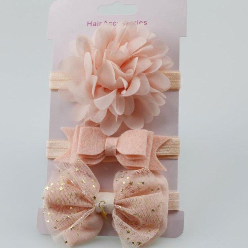 Newborns Photography Props Baby Girl Elastic Floral Headband 3Pcs Kids Headbands Hair Accessories Bowknot Hairband Set Headwear