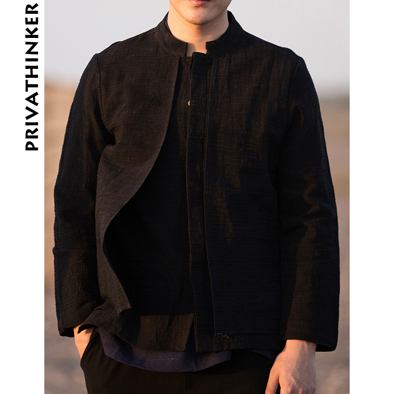 Sinicism Store Men Clothes 2019 Cotton Linen Casual Black Shirts Man Long Sleeve Shirts Male Chinese Fake Two Pieces Windbreaker