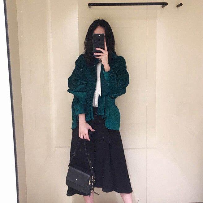 2019 automne et hiver nouveau Vintage coton foncé coton velours côtelé chemise femmes