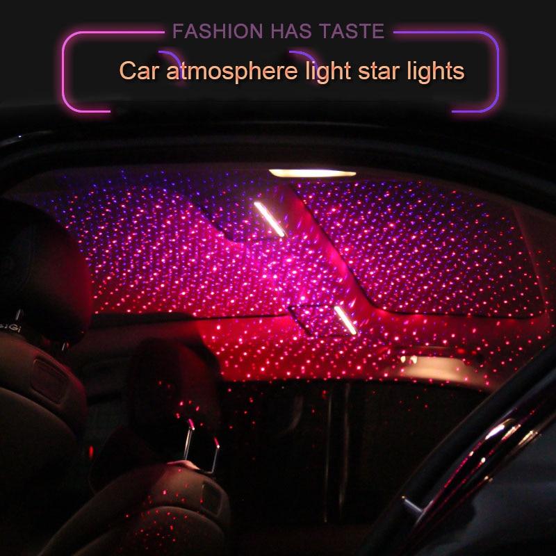 Usb Red Blue Star Starry Sky Light Projector Car Atmosphere Lamp Interior Lighting Car