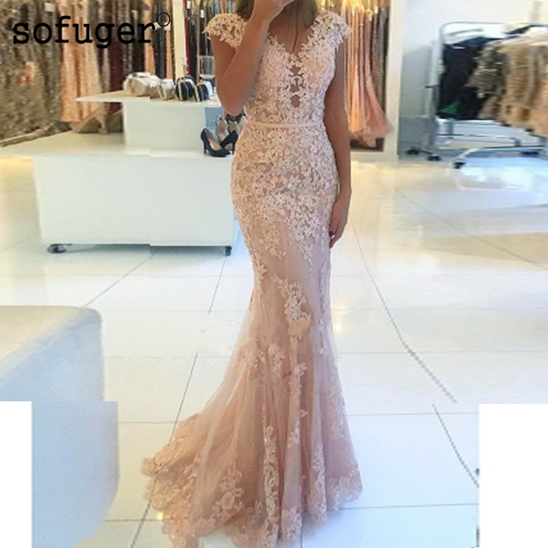 2019 Illusion Back Long   Dress   Appliques vestido de festa Sexy Robe longue Sashes   Evening     Dress