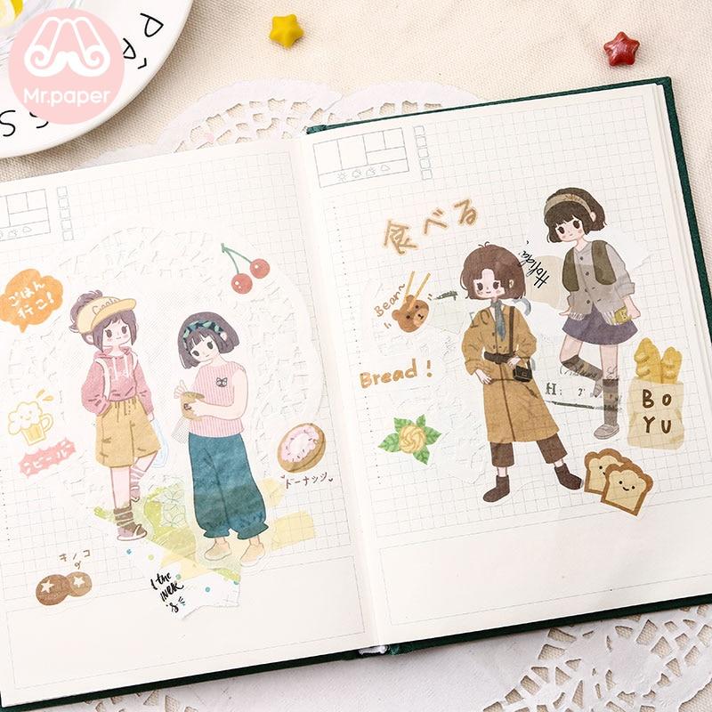 Купить с кэшбэком Mr.paper 8 Designs 8Pcs/lot Japanese Kawaii Envelope Deco Stickers Scrapbooking Bullet Journal Popular Deco Stationery Stickers