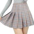 Buenos Ninos estilo preppy a cuadros de mini faldas de cintura alta de estudiantes pantalones cortos plisados falda más el tamaño XS-XL 40