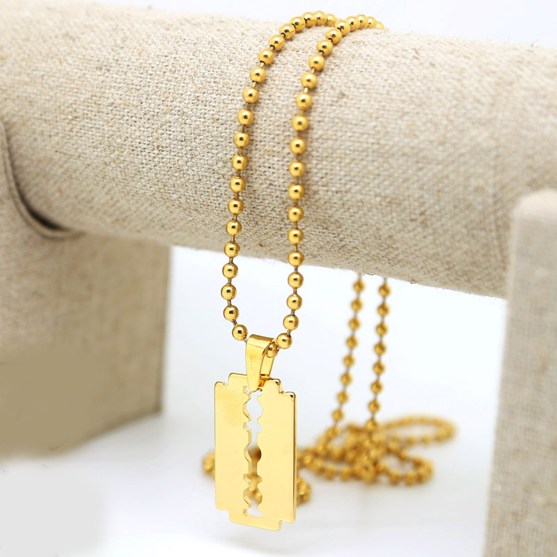 Pure gold color tone razor blade pendant necklace w3mm 275inch pure gold color tone razor blade pendant necklace w3mm 275inch all beads chain hip hop fashion necklace lovers jewerly in pendant necklaces from jewelry thecheapjerseys Choice Image