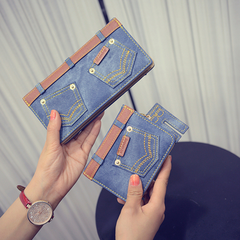 2016 New Fashion Women Wallet Ladies Long Short Wallets Leather Jean Wallet Coin Purse Girl Card