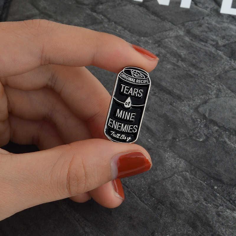 내 원수의 눈물 브로치 블랙 캔 핀 데님 셔츠 칼라 옷 깃 핀 버클 배지 고딕 쥬얼리 소녀 소년