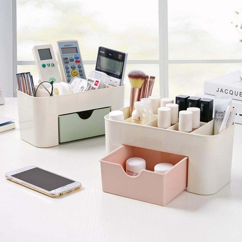 Multi-Compartment Cosmetic Jewelry Organizer Office Storage Drawer Desk Makeup Case Plastic Makeup Brush Box Lipstick Holder