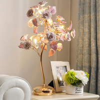 Novelty Art Deco LED Crystal Table lamps luxurious ceramic flowers standing lights romantic living room bedroom LED Table Lamps