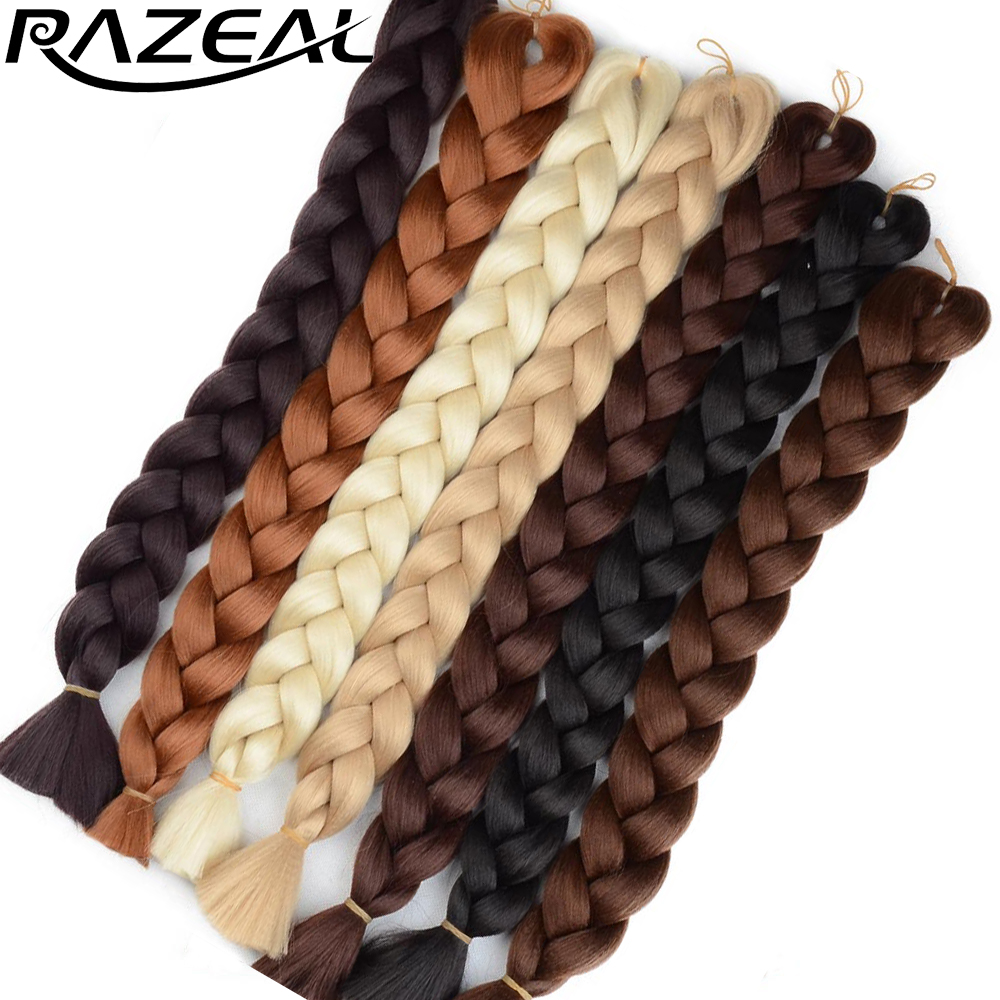 Razeal 2 pcs Xpression Crochet Braids Synthetic Hair Braids Afro Braiding Hair 36 Inch L ...