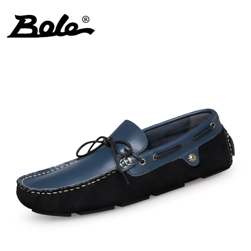BOLE New Handmade Leather Men Shoes Summer Fashion Walking Breathable Men Loafers Slip on Flat Shoes Men Footwear Big Size 36-47 big size 46 summer breathable mesh loafers men casual shoes genuine leather slip on brand fashion flat shoes soft comfort cool