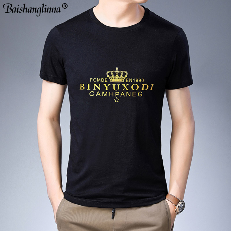 Baishanglinna Spring Summer Short Sleeve Tee Shirt Men Casual O-Neck T-Shirt Men Pure Cotton Top Homme Brand Clothing S - XXXXL 1