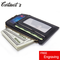 Free Engrave Men Money Clips Genuine Leather Coin Pocket Clamp For Money Holder Case High Quality