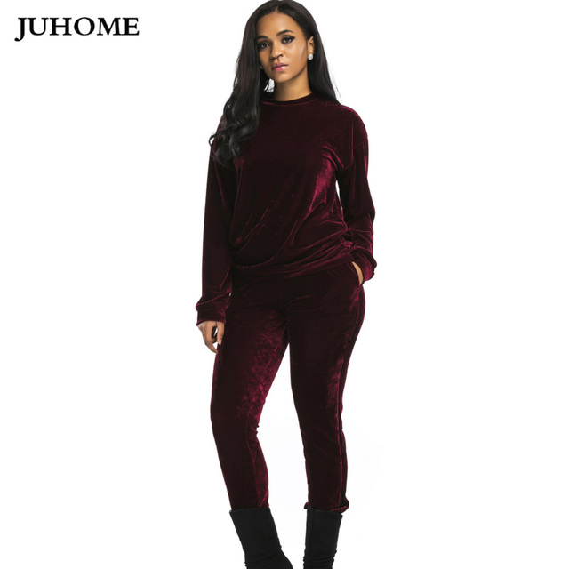 dbc1089bacdc 2018 high quality thick Velvet women set plus size loose Long Sleeve Top  And Pants tracksuit