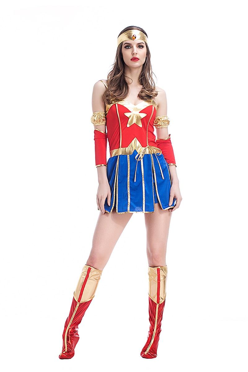 Adult Girls Halloween Superhero Wonder Woman Costume Short -6269