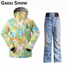 Gsou Snow Ski Suit Men Skiing Jacket Waterproof 10K ski jacket+snow pant male thicken warm Snowboard Jacket Men Winter suits