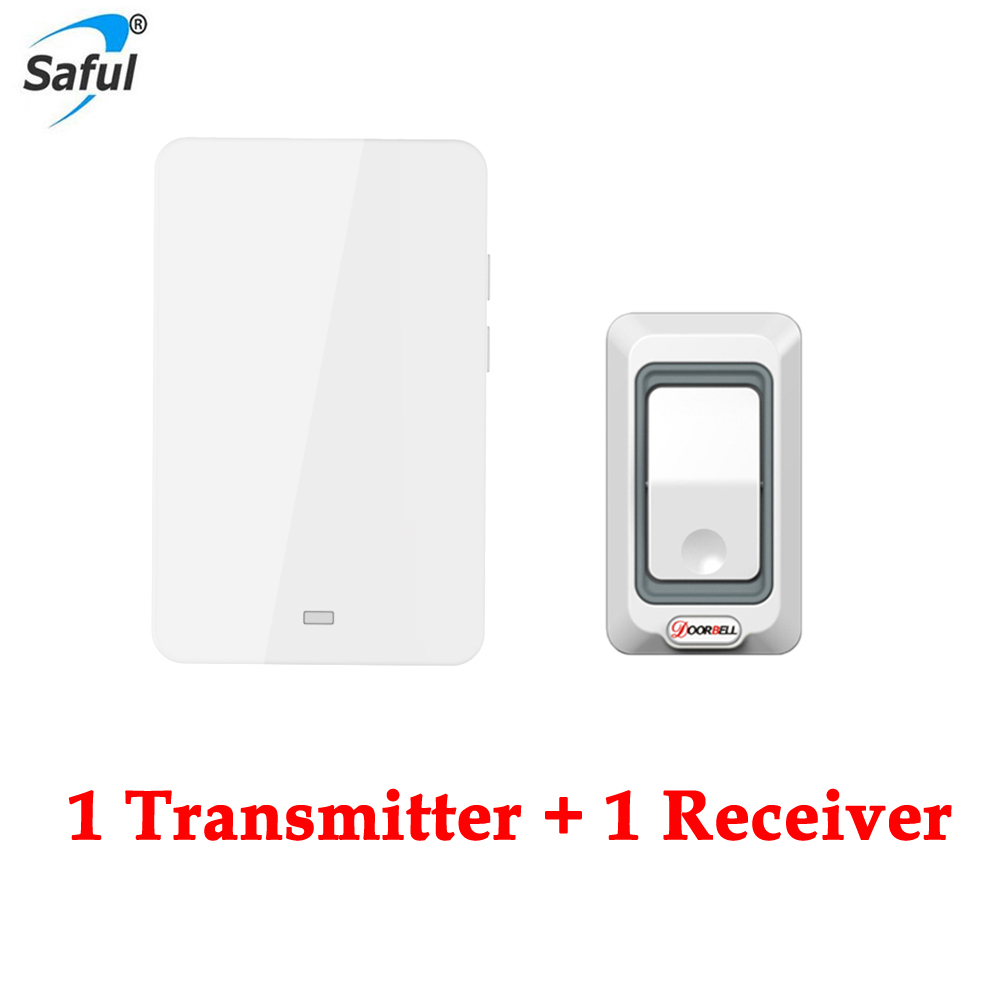 Free Shipping New LED Home Waterproof Doorbell EU Plug-in Wireless Door Bell With 2 Push Button Transmitter+1 Doorbells Receiver wireless home security door bell call button access control with 1pcs transmitter launcher 1pcs receiver waterproof f3310b