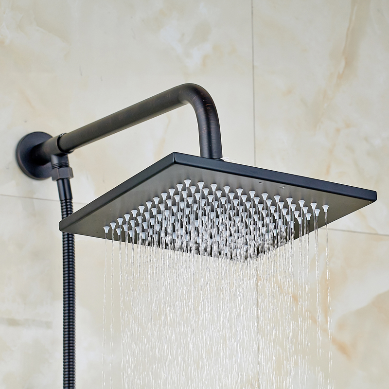 ФОТО Wholesale and Retail Solid Brass Bathroom Square Shower Head + Shower Arm + Shower Hose Oil Rubbed Bronze