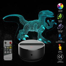 Jurassic Bru 3D Dinosaur Illusion Lamp Velociraptor 3D Night Light Table Desk Lamp 7 Colors Changing 3D Optical Illusion Lights цена