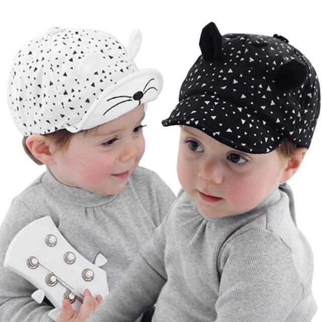 Fashion Korean Kid Baseball Cap Cotton Cute Cat Hat Newborn Infant Caps  Soft Brim Boy Girl Sun Hats For 5-24 Months Baby BM88 b3f4752265b7