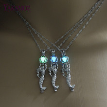 Summer Jewelry Mermaid Pendant Necklace Glow in the Dark Choker Necklace 3 Color