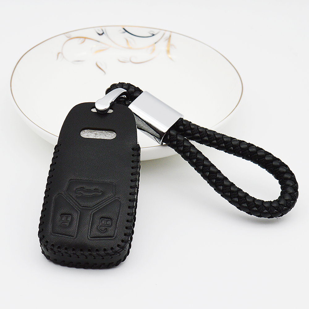 2018 Leather Key Case Cover For AUDI 2016 2017 Q7 A4L TT TTS Q5 Q7 TTS TFSI Key Shell Braid Woven Rope Keychain Ring Car Styling