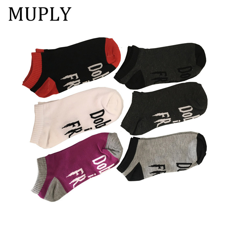 2018 New Arrival Casual Women Funny   Socks   Print Letter Ankle   Socks   meias Unisex Chaussette Femme Cotton Novelty Chaussette Sox