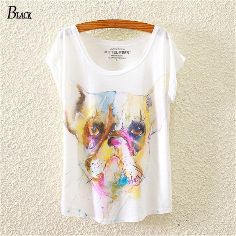 Черный марка прохладный бульдог шаблон женщин футболка новинка 2016 летняя  одежда свободного покроя Tshirt милый мультфильм тис 8bfaf10a99e