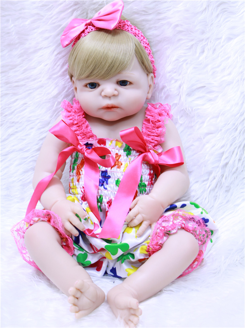 Full Body Silicone Reborn Baby Doll Toys Lifelike bebe girl reborn Baby Doll Child bonecas Brinquedos Bathe Toy 55cm